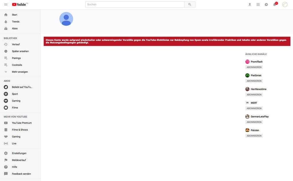 StarkeZigarren Youtube Konto von Google gelöscht